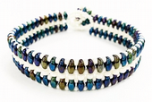 Flat SuperDuo Bracelet Beadwork Kit - Blue/Green Iris and Ivory